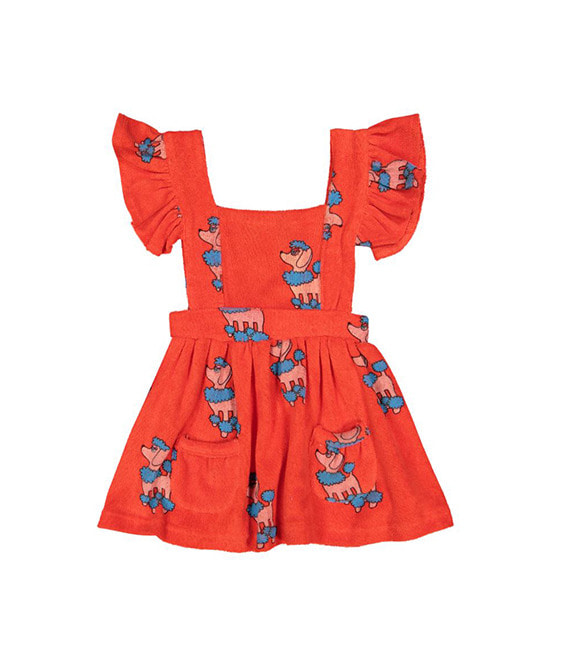 Terry Ruffle Play Dress - Red Poodle