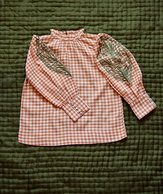 Blouse Long Cuff - Orange Check