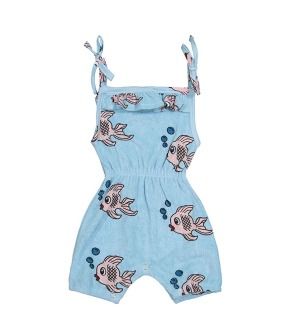 Terry Ruffle Playsuit - Blue Fish