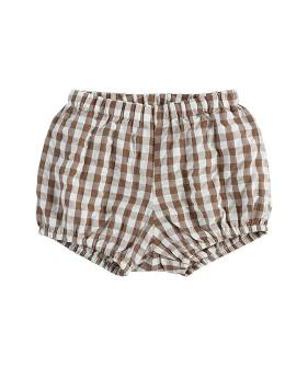 Poppy Bloomers - Seersucker Gingham  In Nut