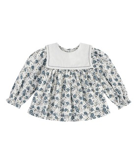 Eadie Sailor Collar Blouse - Blue Watercolour Floral