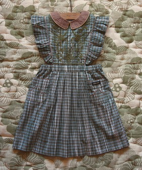 Reina Dress  - Ikat Check / Caramel Check ★ONLY 6Y★