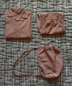 Boy Pyjama Set - Caramel Check
