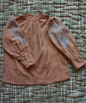 Blouse Long Cuff - Caramel Check ★ONLY 12Y★