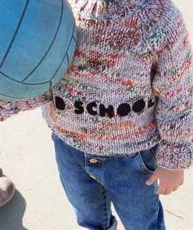 Old School Knitted Sweater - Flecked Ecru W/ Mixed Colors