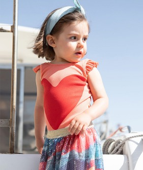 Ribbed Body With Frills On Shoulders - Coral W/ Red Heart ★ONLY 3Y★