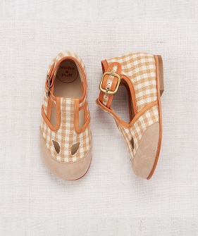 Elmwood T-Strap Shoes - Gingham