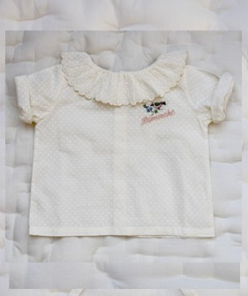 Baby Flounce Blouse with Embroidery - Ecru Dot Voile  ★ONLY 2Y★