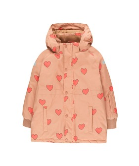 """Hearts"" Snow Jacket - Tan/Red"