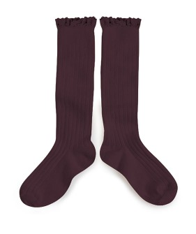 [2차] Joséphine Lace Trim Knee-Highs -  #886 Aubergine