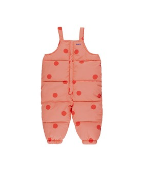 """Big Dots"" Padded Dungaree - Peachy Red/Red ★ONLY 4Y★"