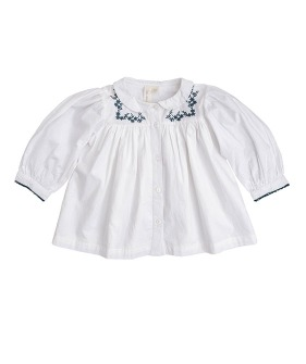 Ella Blouse - Off White Cotton With Embroidery ★ONLY 4-5Y★