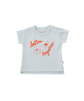 Better Together Baby Tee - Pale Grey/Red