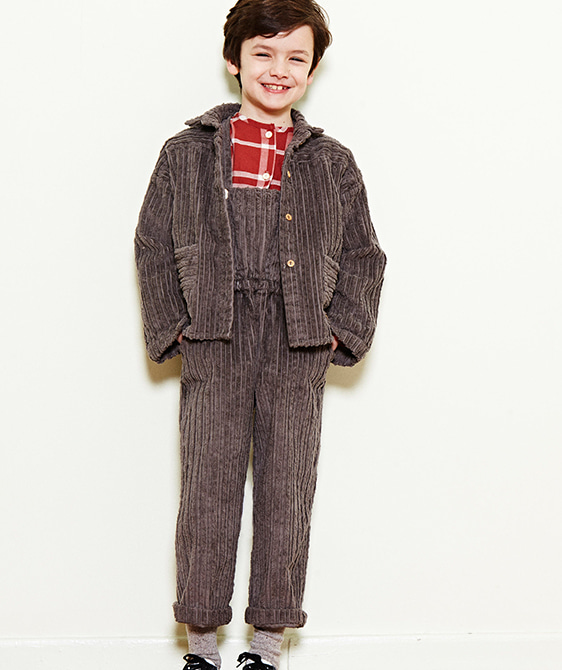 Corduroy Button Overall  - Chestnut